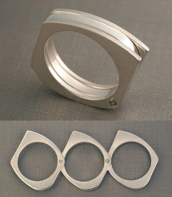 Subtle Safety ring can expand to three parts to be used as a defense tool (Source: Redstart Design)