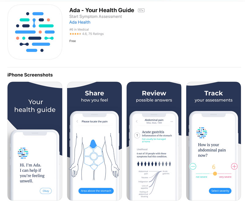 Ada is an artificial intelligent treatment app