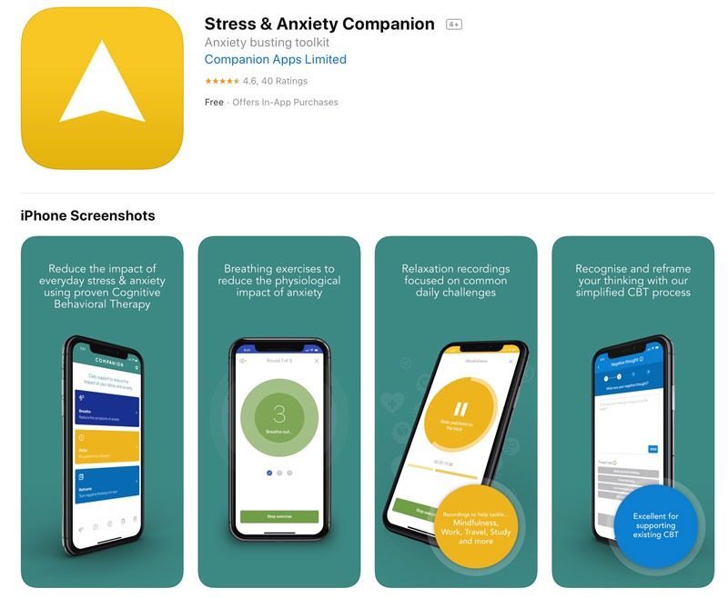 Companion app for stress and anxiety